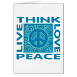 Piense la paz. Ame la paz. Vive la paz Tarjeta De Felicitación