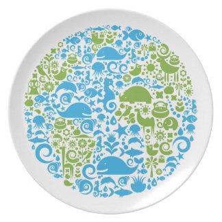 Piense la placa verde del Día de la Tierra del glo Plato De Cena
