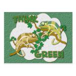 Piense la postal verde
