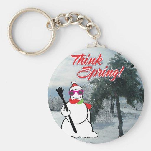 piense la primavera con el muñeco de nieve llavero