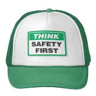 Piense la seguridad primero gorros bordados