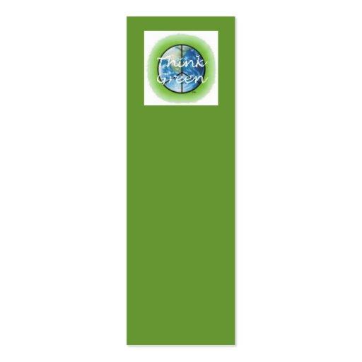 Piense la señal verde tarjetas personales