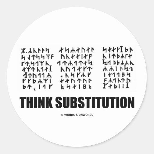 Piense la substitución (criptograma rúnico Jules Pegatina Redonda