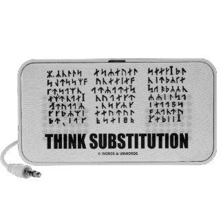 Piense la substitución (criptograma rúnico Jules V Laptop Altavoz