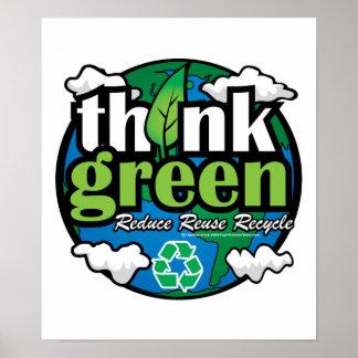 Piense la tierra verde póster