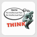 Piense la verdad calcomanía cuadrada personalizada