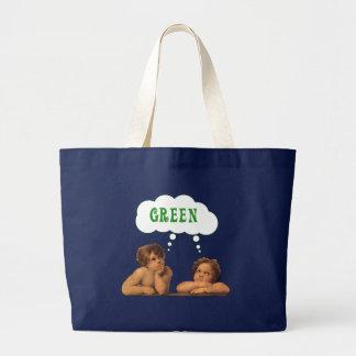 Piense las bolsas de asas verdes del ángel