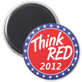 Piense las estrellas azules de la elección roja imán de nevera