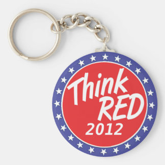 Piense las estrellas azules de la elección roja llavero redondo tipo pin