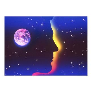 Piense las invitaciones de la tierra del planeta invitación 12,7 x 17,8 cm