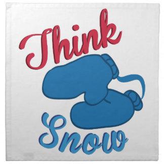 Piense las manoplas de la nieve servilleta