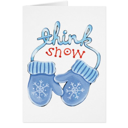 Piense las manoplas de la nieve tarjeta pequeña