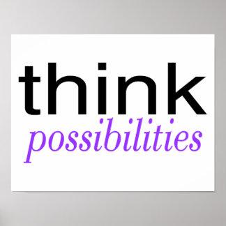 Piense las posibilidades púrpuras póster
