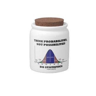 Piense las probabilidades, no estadísticas de las jarras para caramelos