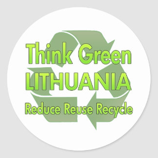 Piense Lituania verde Etiqueta Redonda