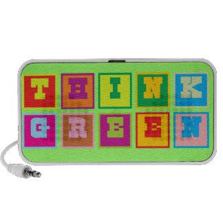 Piense los bloques multicolores verdes mini altavoces
