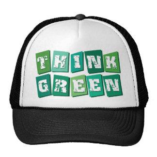 Piense los bloques verdes gorras de camionero