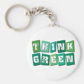 Piense los bloques verdes llavero personalizado