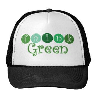 Piense los círculos verdes gorras