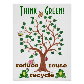 Piense los Critters verdes - poster adaptable