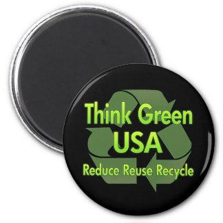 Piense los E E U U verdes Iman De Frigorífico