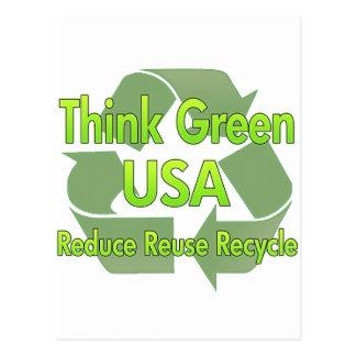 Piense los E.E.U.U. verdes Postal