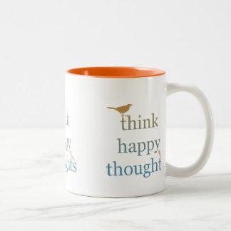 Piense los pensamientos felices taza de café de dos colores