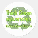 Piense Mauritania verde Etiquetas Redondas