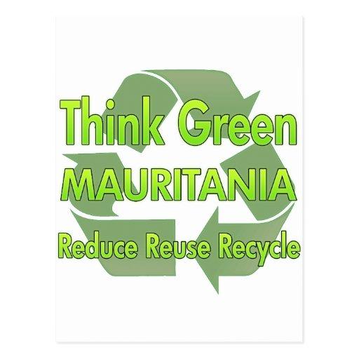 Piense Mauritania verde Postales