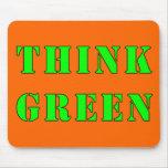 Piense Mousepad verde Tapete De Ratones
