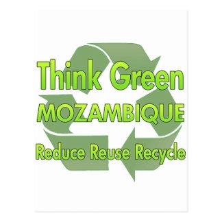 Piense Mozambique verde Postal