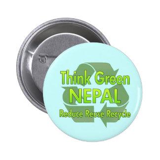 Piense Nepal verde Pins