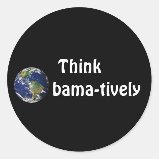 Piense Obamatively_world, blanco en negro Pegatina Redonda