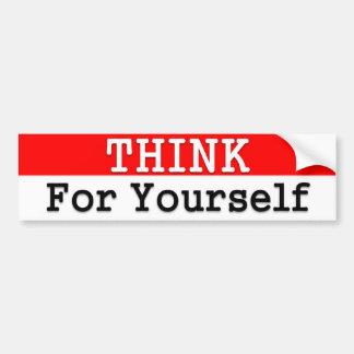 Piense para sí mismo a la pegatina para el paracho etiqueta de parachoque