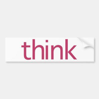 piense (pensamiento rosado) etiqueta de parachoque