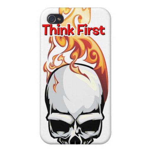 Piense primero - los cráneos llameantes de la quem iPhone 4 fundas