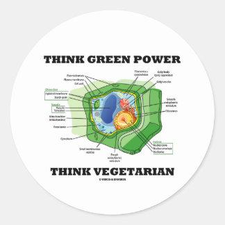 Piense que el poder verde piensa al vegetariano etiqueta redonda
