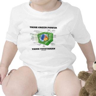 Piense que el poder verde piensa al vegetariano traje de bebé