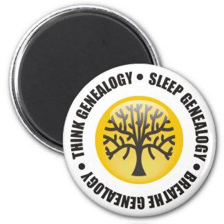Piense que el sueño respira la genealogía imán redondo 5 cm
