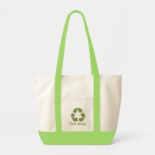 Piense que el verde recicla el bolso bolsa
