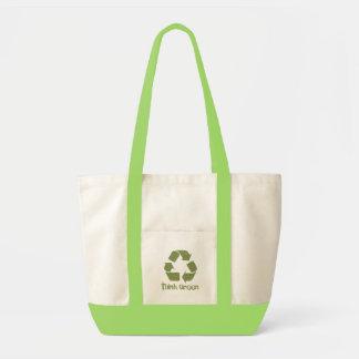 Piense que el verde recicla el bolso bolsa tela impulso