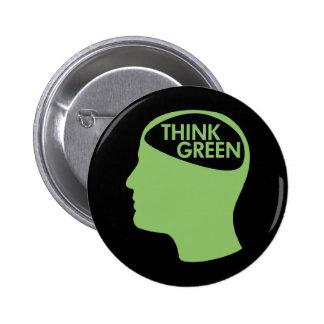 Piense que el verde recicla oscuridad pin redondo de 2 pulgadas