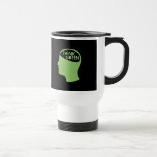 Piense que el verde recicla oscuridad taza de viaje