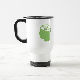 Piense que el verde recicla taza de viaje