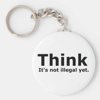 Piense que no es engranaje ilegal con todo polític llavero redondo tipo pin