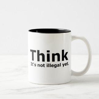 Piense que no es engranaje ilegal con todo polític taza de café