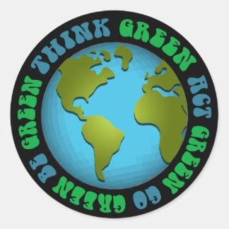 Piense que verde sea diseño verde pegatina redonda
