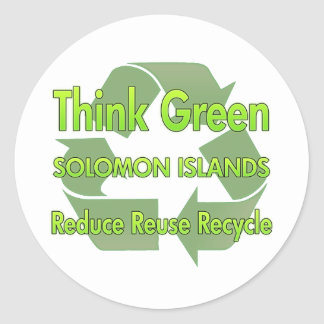 Piense Solomon Island verdes Pegatina Redonda