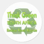 Piense Suráfrica verde Etiqueta Redonda