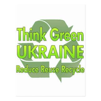 Piense Ucrania verde Postal
